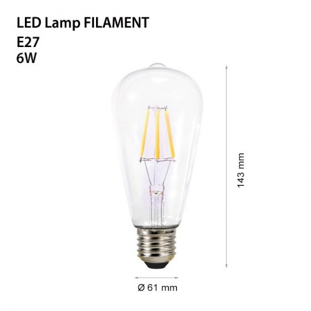 Bec decorativ cu filament Led 6w e27 - Ledel