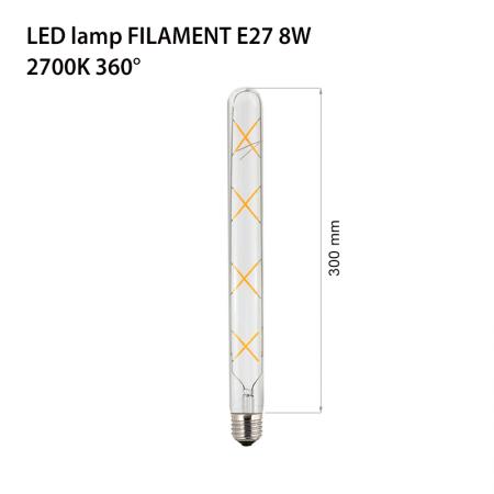 Bec decorativ cu filament Led 8w e27 lumina calda sticla clara