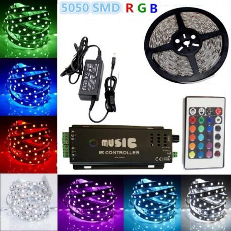 Kit Banda LED Multicolora 10ml 300LED cu Controller Muzical si Telecomanda Interior