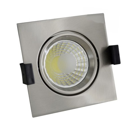 8W Lampa Spot LED COB patrata, ajustabila, lumina rece/neutra/calda - INOX - Ledel