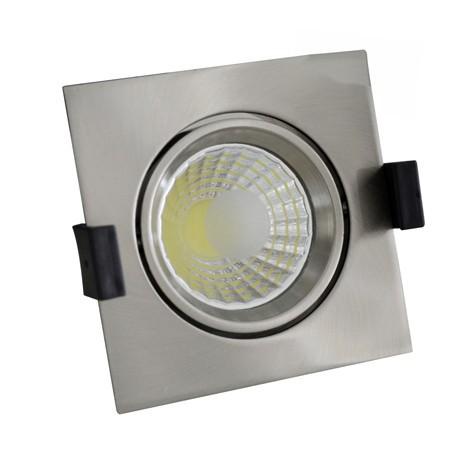 8W Lampa Spot LED COB patrata, ajustabila - INOX