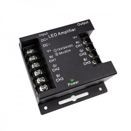 Amplificator metalic negru 12V/24V 3x8A - Ledel