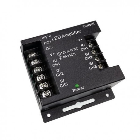 Amplificator metalic negru 12V/24V 3x8A