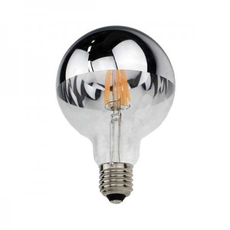 LED Bulb G95 E27 8W Half Silver Glass - Ledel
