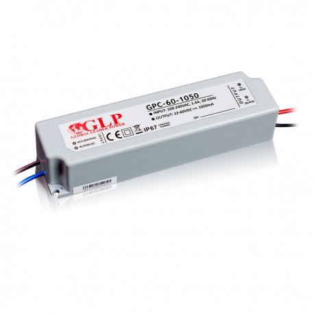 GLP Transformator 1050mA 12~60VA 63W (max) IP67- plastic