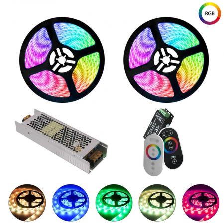 Kit Banda LED Multicolora 10ml 600LED cu Telecomanda TOUCH Interior - Ledel