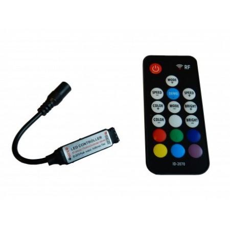 Controler cu Telecomanda pentru Banda LED RGB 12V 72W 18 Butoane Mini RF Negru - Ledel